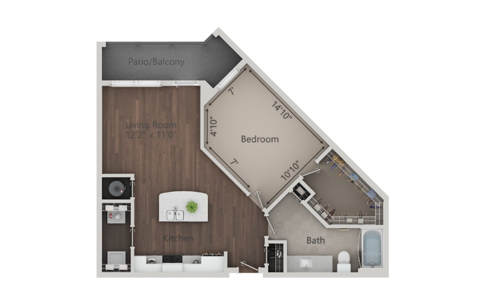 A2 - 1 bedroom floorplan layout with 1 bath and 840 square feet. (2D)