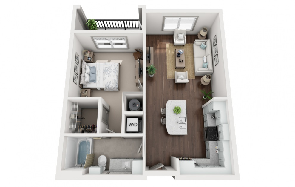 A1 - 1 bedroom floorplan layout with 1 bath and 758 square feet. (3D)