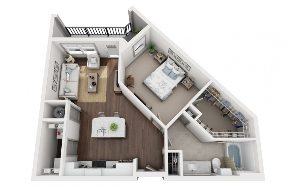 A2 - 1 bedroom floorplan layout with 1 bath and 840 square feet. (3D)