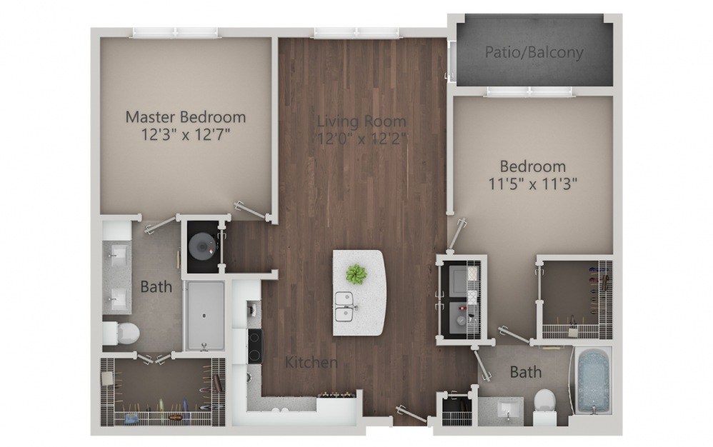B1 - 2 bedroom floorplan layout with 2 baths and 1054 square feet. (2D)