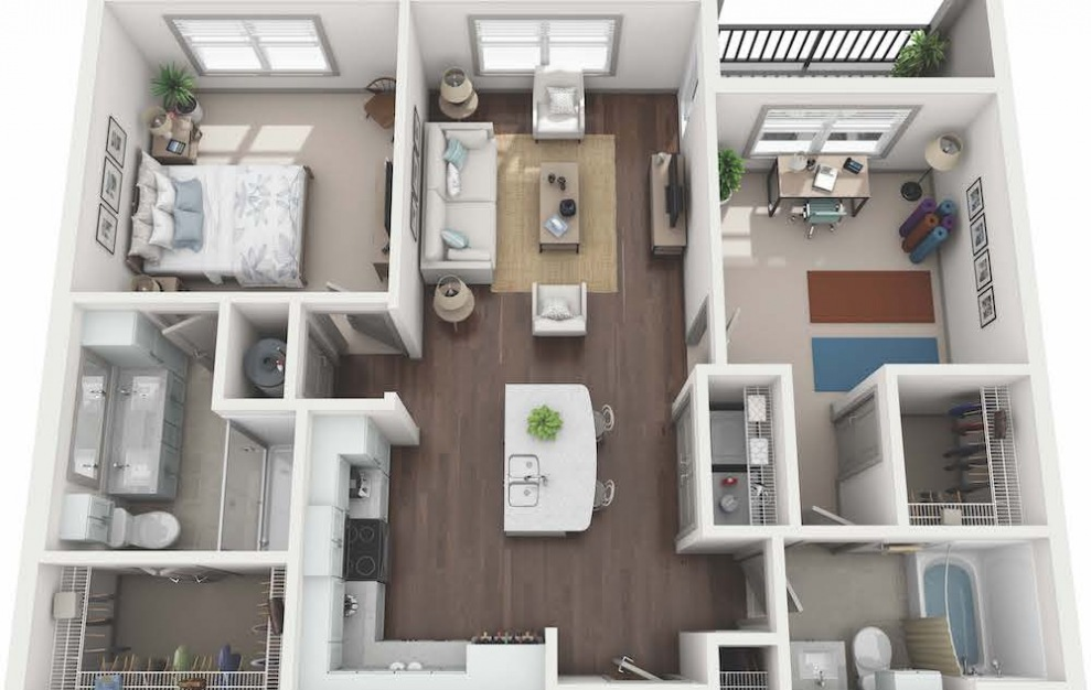 B1 - 2 bedroom floorplan layout with 2 baths and 1054 square feet. (3D)