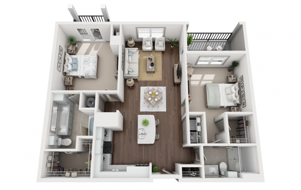 B2 - 2 bedroom floorplan layout with 2 baths and 1286 square feet. (3D)