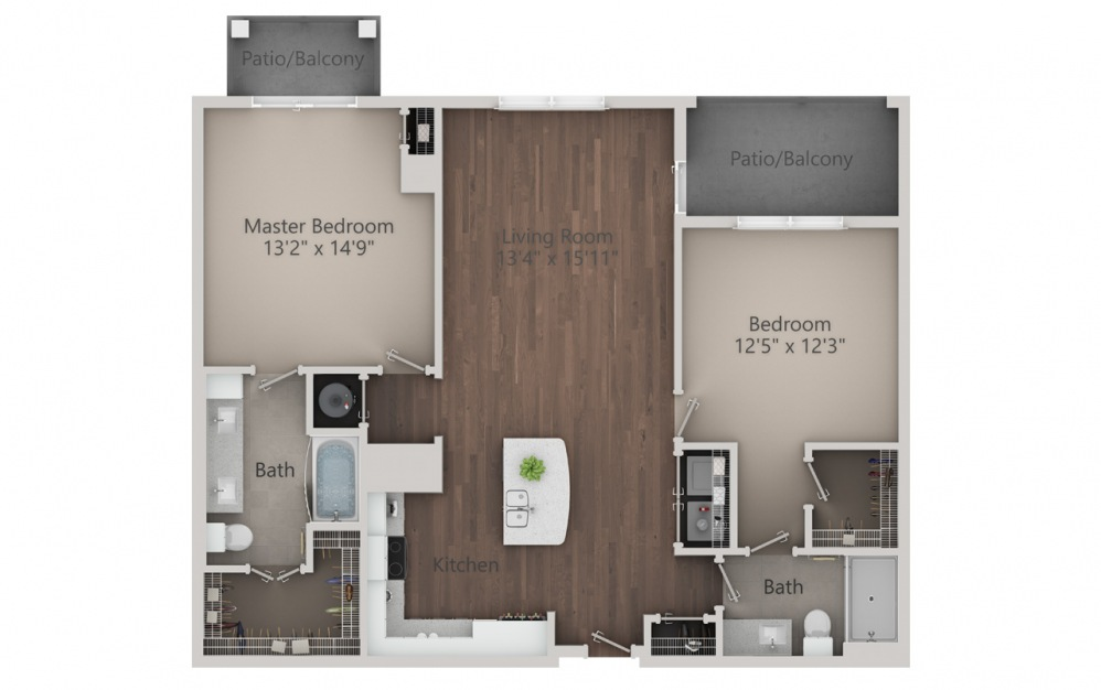 B2 - 2 bedroom floorplan layout with 2 baths and 1286 square feet. (2D)