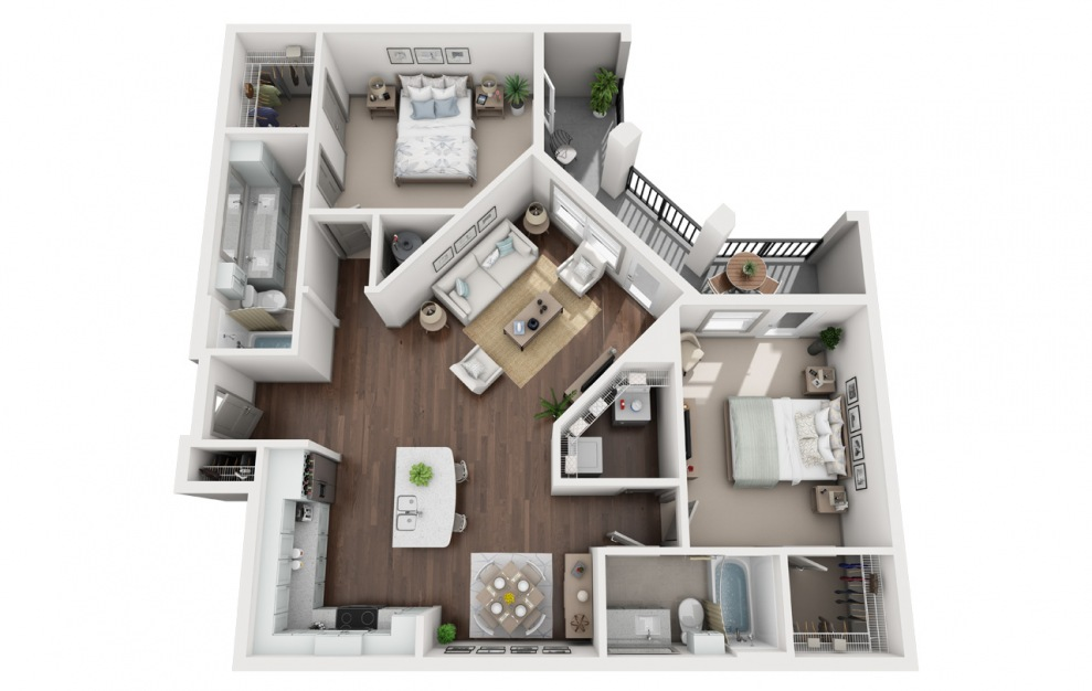 B3 - 2 bedroom floorplan layout with 2 baths and 1364 square feet. (3D)