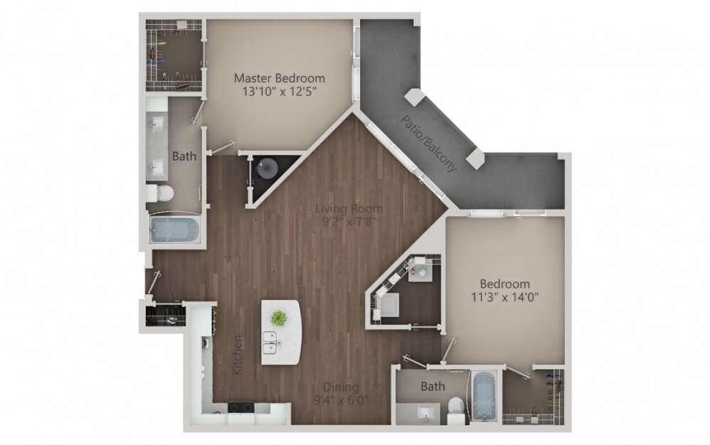 B3 - 2 bedroom floorplan layout with 2 baths and 1364 square feet. (2D)