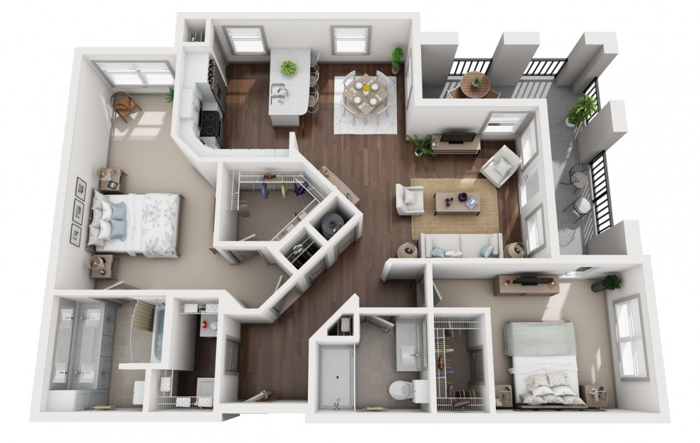 B4 - 2 bedroom floorplan layout with 2 baths and 1432 square feet. (3D)