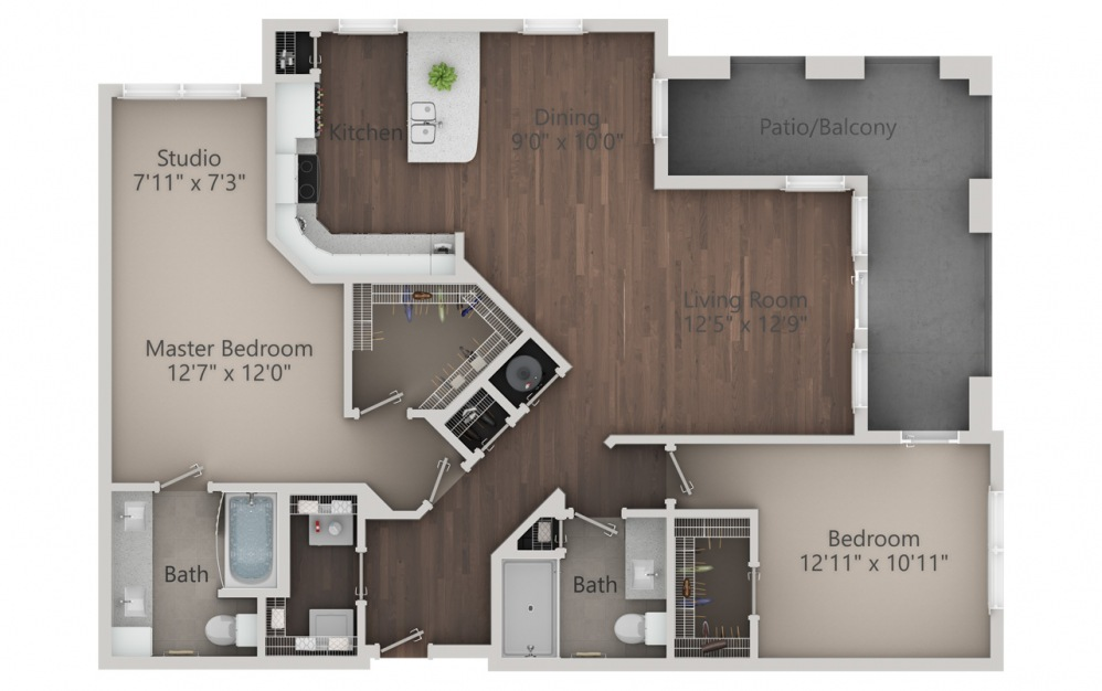 B4 - 2 bedroom floorplan layout with 2 baths and 1432 square feet. (2D)