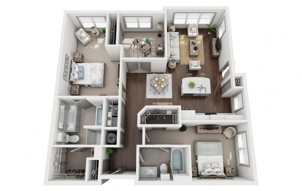 C1 - 3 bedroom floorplan layout with 2 baths and 1366 square feet. (3D)