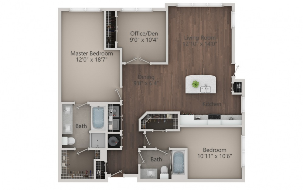 C1 - 3 bedroom floorplan layout with 2 baths and 1366 square feet. (2D)
