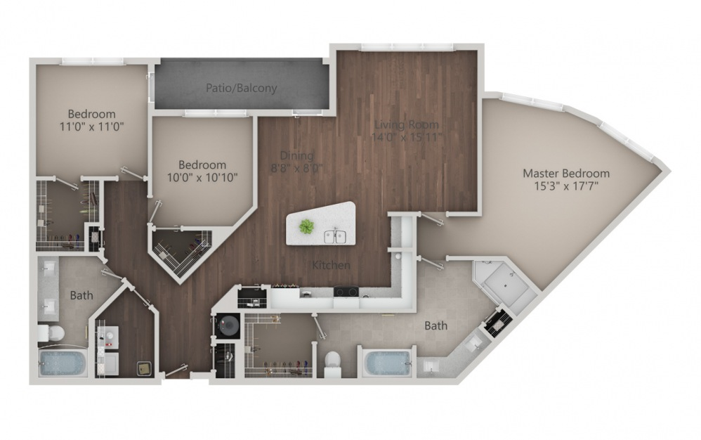 C2 - 3 bedroom floorplan layout with 2 baths and 1666 square feet. (2D)