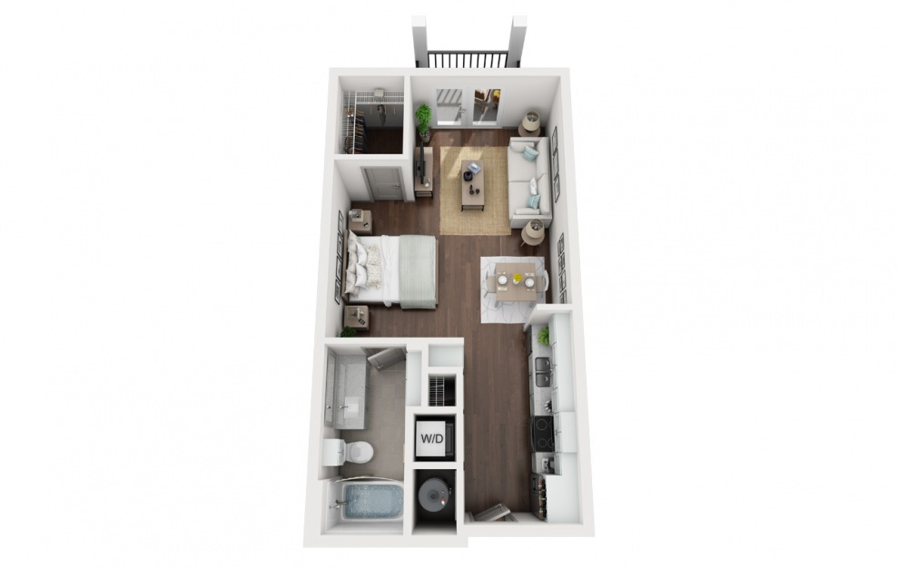 S1 - Studio floorplan layout with 1 bath and 532 square feet. (3D)