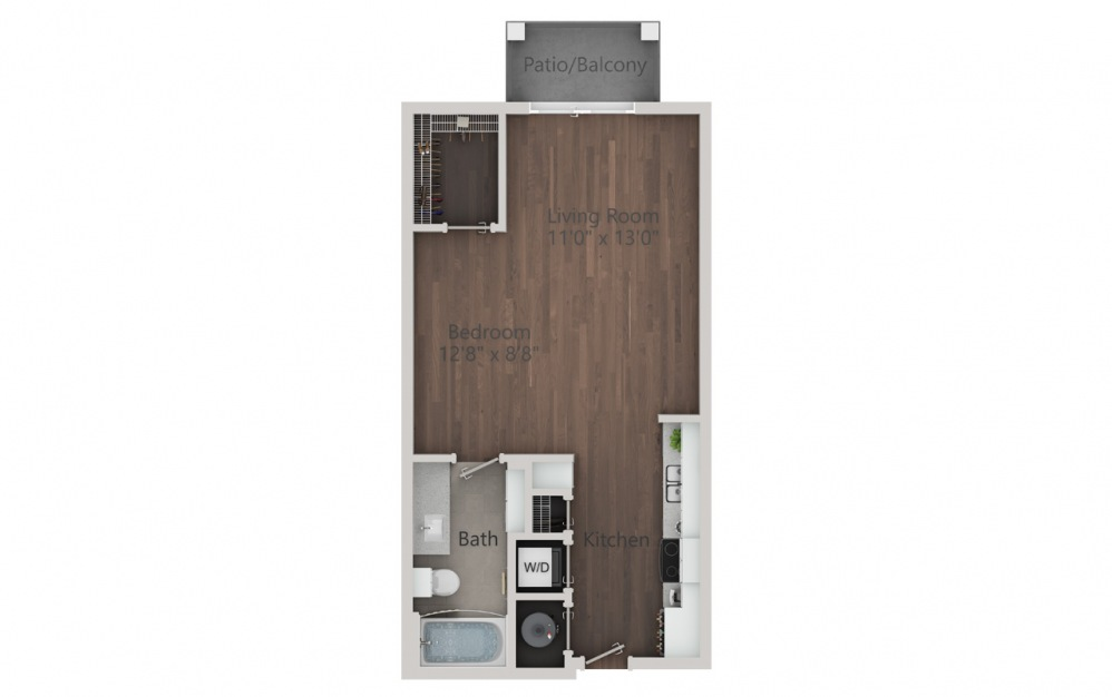 S1 - Studio floorplan layout with 1 bath and 532 square feet. (2D)