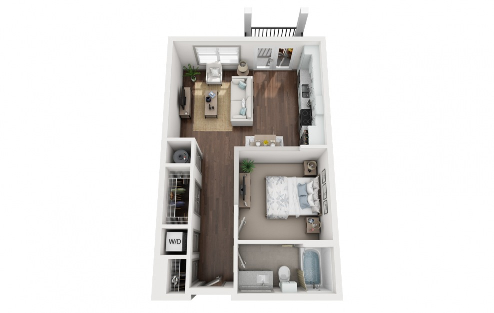 S2 - Studio floorplan layout with 1 bath and 640 square feet. (3D)