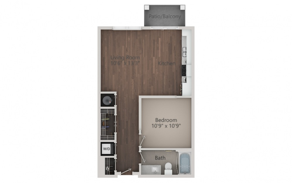 S2 - Studio floorplan layout with 1 bath and 640 square feet. (2D)